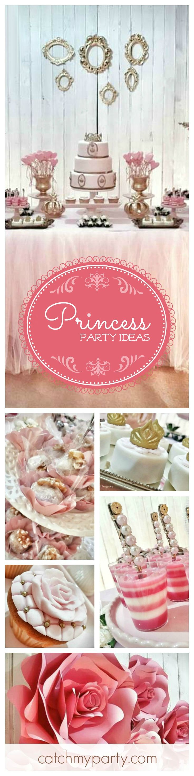 You won't want to miss this beautiful Princess Birthday Party! Absolutely love the dessert table. It's just so elegant! See more party ideas at CatchMyParty.com