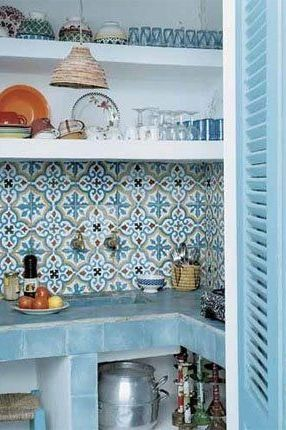 Pretty tiled Moroccan kitchen.