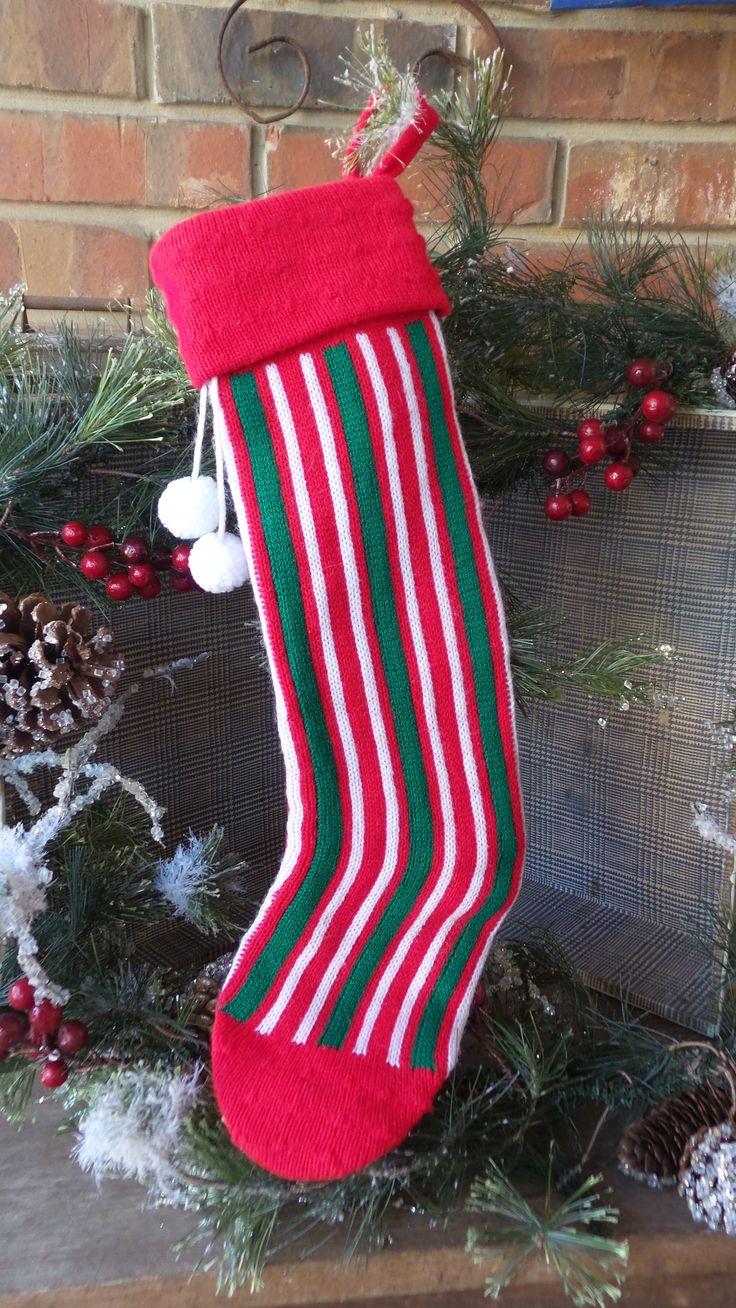 Vintage Christmas SWEATER STOCKING, Knit Striped Stocking, Red Green White Stocking, Stranger Things Style 80s Stocking, Retro Stocking by PixieGoes2Market on Etsy