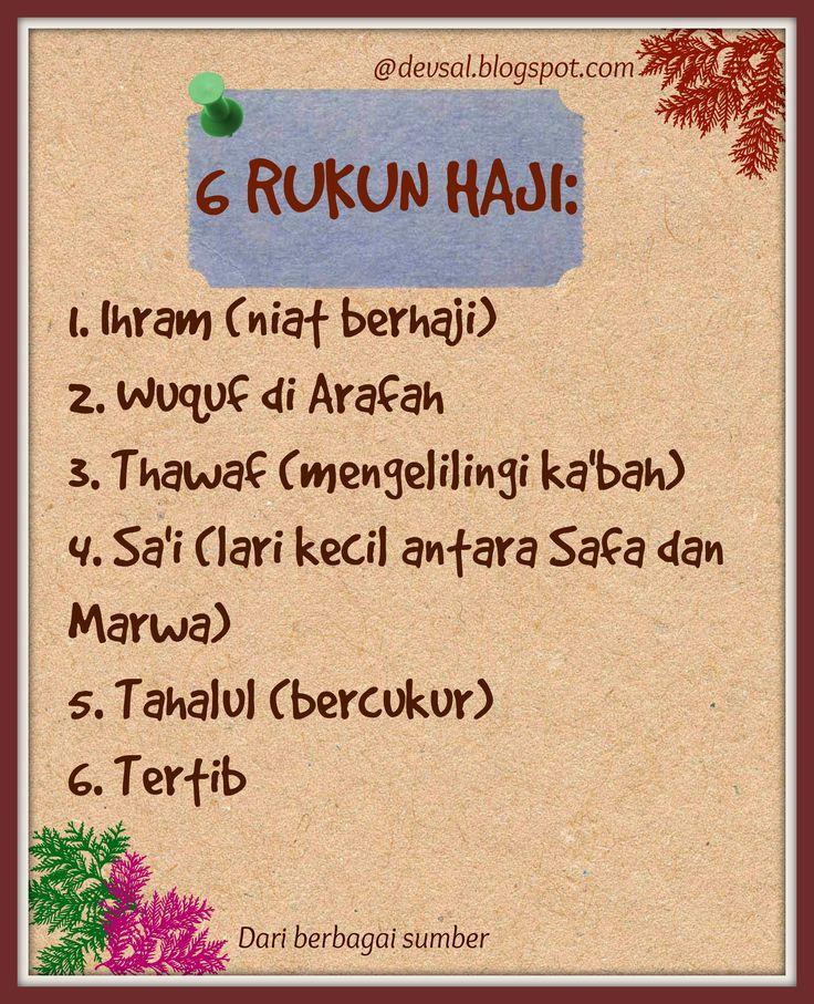 Berikut adalah 6 rukun haji. Jika tidak dilaksanakan maka ibadah hajinya tidak sah. Semoga Allah SWT memudahkan kita semua dalam melaksanakan ibadah haji, amin.