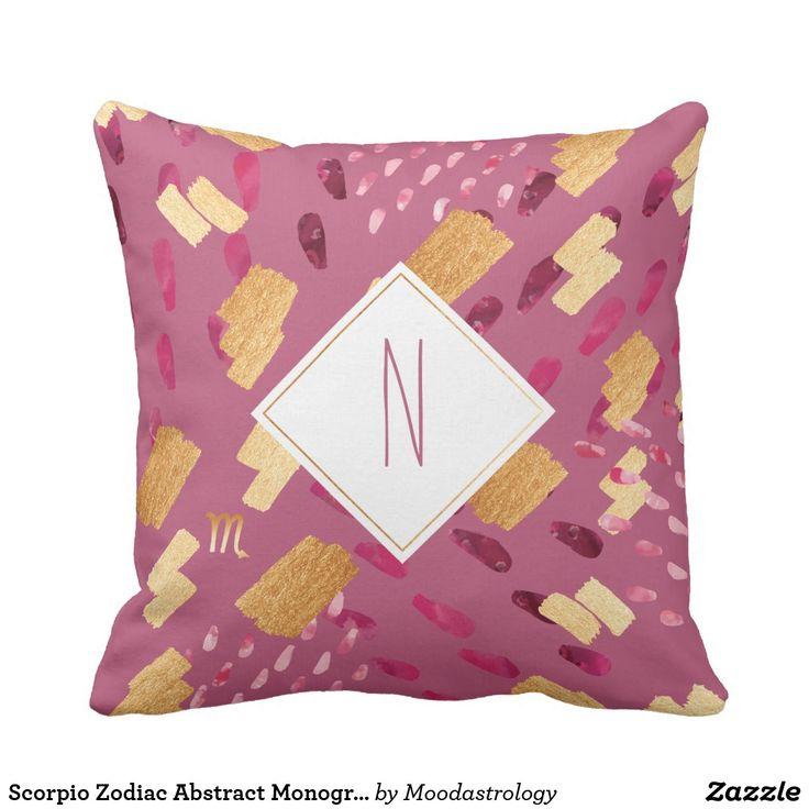 Scorpio Zodiac Abstract Monogram Maroon Pillow