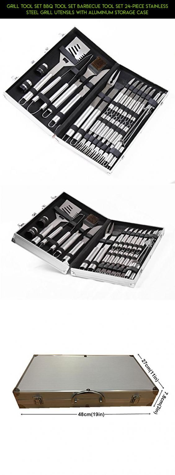 Grill Tool Set BBQ Tool set Barbecue tool set 24-piece Stainless Steel Grill Utensils with Aluminum Storage Case #products #plans #kit #tech #utensils #camera #drone #cooking #parts #gadgets #outdoor #shopping #technology #fpv #racing #storage