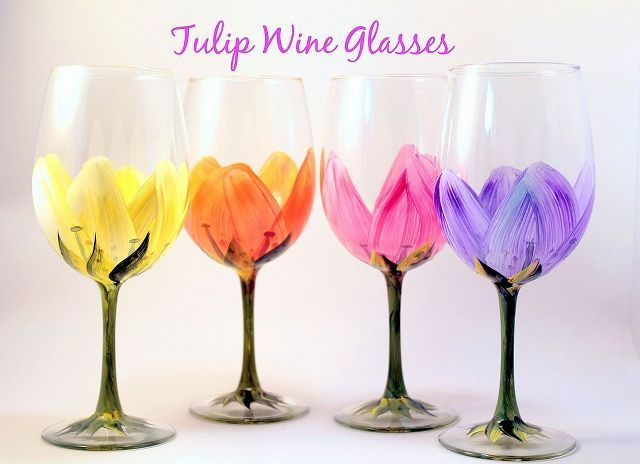 painted wine glass by brushes with a view, painting, Tulip WIne Glasses by Brushes with A View
