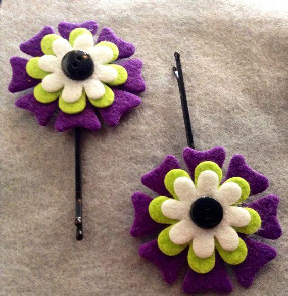 SALE: Fun Flirty Flower Felt hair pins