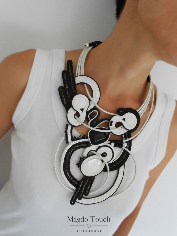 'Domino' One of a kind statement piece made by order. #soutache #statement #necklace #modern #contemporary #artistic #jewelry #magdotouch