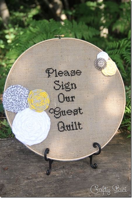 Wedding Guest Quilt Cross Stitched Sign - Crafty Staci
