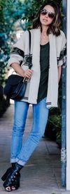 ANINE BING chunky cardigan | JOIE Serotina linen tee | PAUL ANDREW Trinity peep toe ankle boots | CHLOE Hudson bag