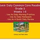 Quick, Daily Common Core ELA Practice!  Five weeks are included.  This document is a convenient way to cover and review the Common Core Reading Sta...