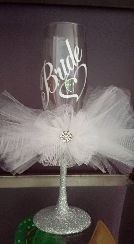 Wedding Bride Champagne Toasting Vinyl And Tulle Customization Available Wine Glass By