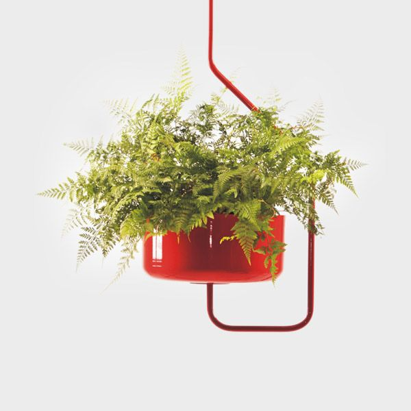 Forrester Hanging Planter. It hangs from a truss or concrete ceiling.