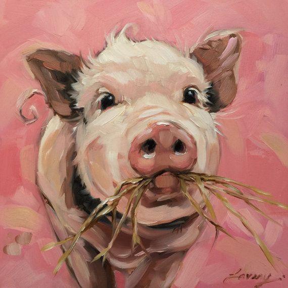 Pig painting Original impressionistic oil painting of von LaveryART