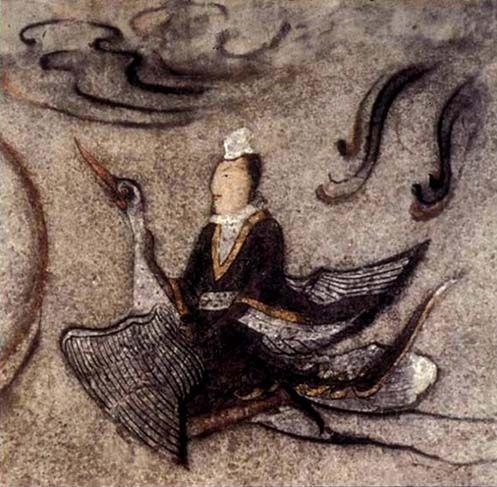 Goguryeo Tomb Murals - Immortal riding a goose,  Ohoe Tomb #4, 6th - 7th century. Ji'an, China