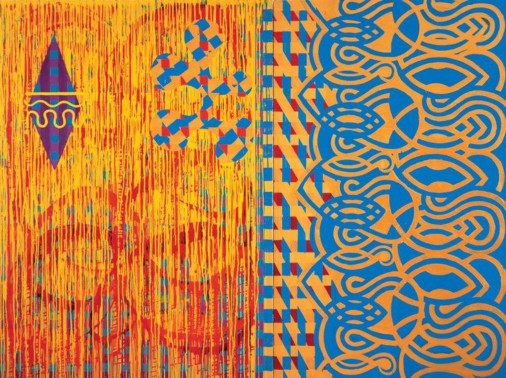 Mapping Desire, 1990 by Mari Rantanen. Acrylic and pigment on canvas. For sale, inquiries: sari.seitovirta@seitsemanvirtaa.com / GALERIE SEITSEMÄN VIRTAA
