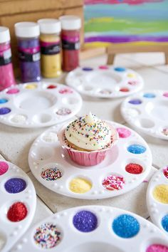 Adorable!!  Decorate your own cupcake party activity.