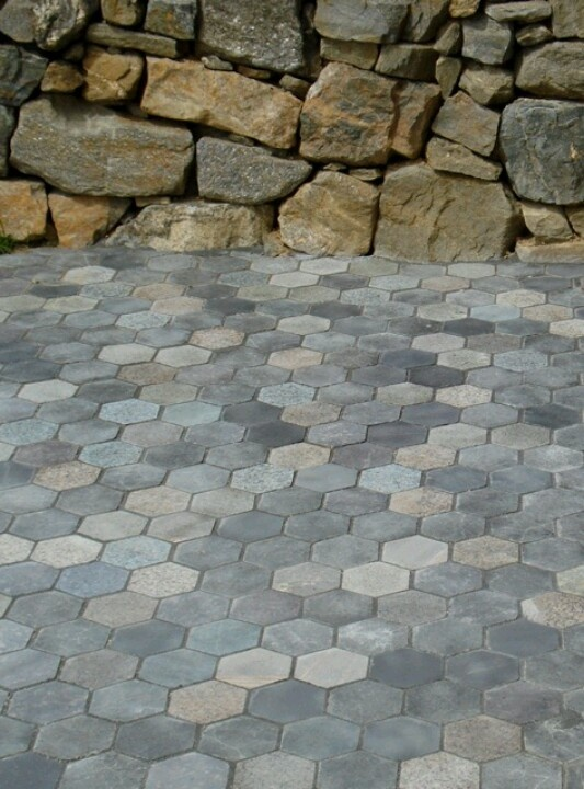 Hexagon Recycled Granite Paver Patio 100 Natural