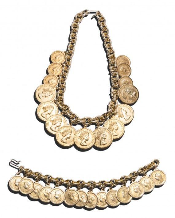 Vintage Versace coin necklace & bracelet set by Ugo Correani, 1978
