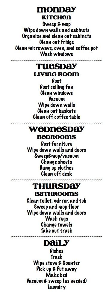 Cleaning Schedule! Great idea.