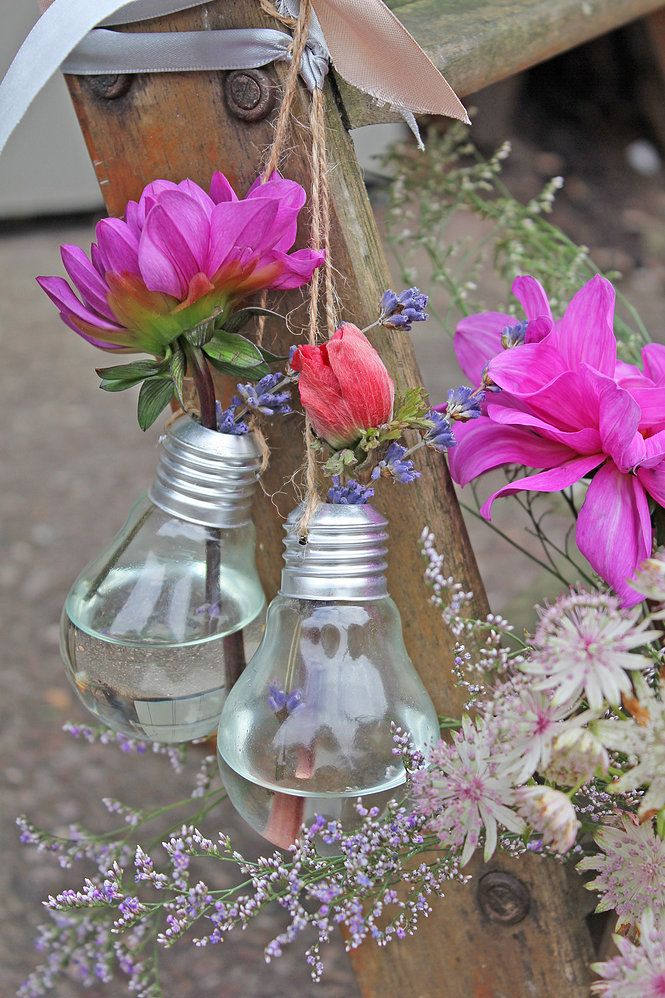 Lightbulb Vases. Made & Sytyled by Cotton and Beau.