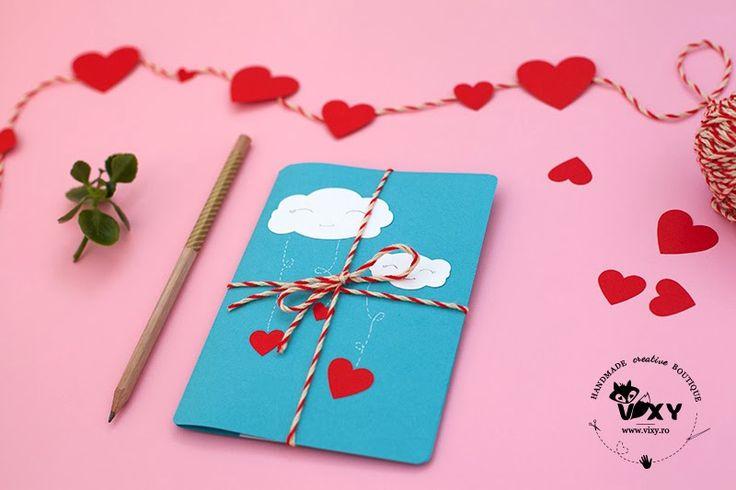 Valentine Card. Tutorial: Felicitare 3D cu pisici, norisori si inimioare