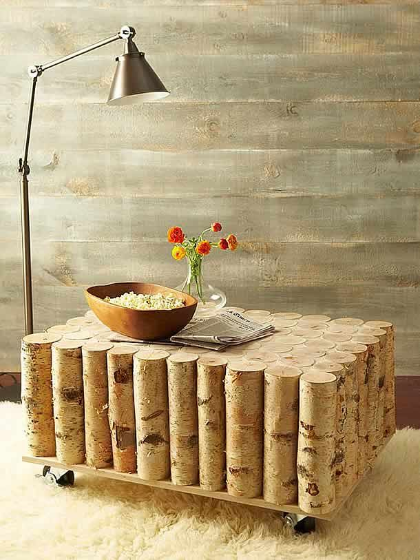 DIY: Birch-Log Coffee Table by BHG | Please subscribe to my weekly newsletter at upcycledzine.com !#upcycle