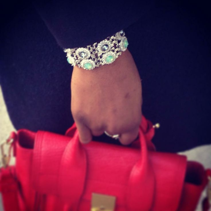 Sunday Stack of Lolu Rhoda Bracelets & a pop of red...