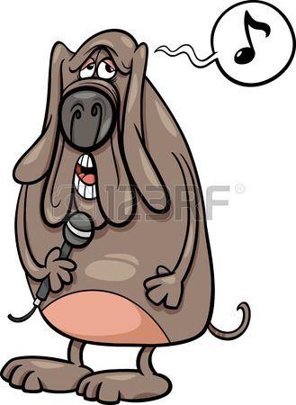 Ilustraci n de dibujos animados divertido personaje Perro Cantando Foto de archivo