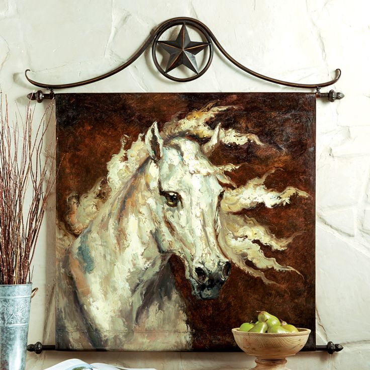 white horse oil painting wall hanging western wall art on wall hangings id=45536