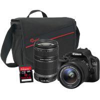 Canon EOS 100D DSLR with EF-S 18-55mm IS STM + 55-250mm IS, 32GB Card and Bag