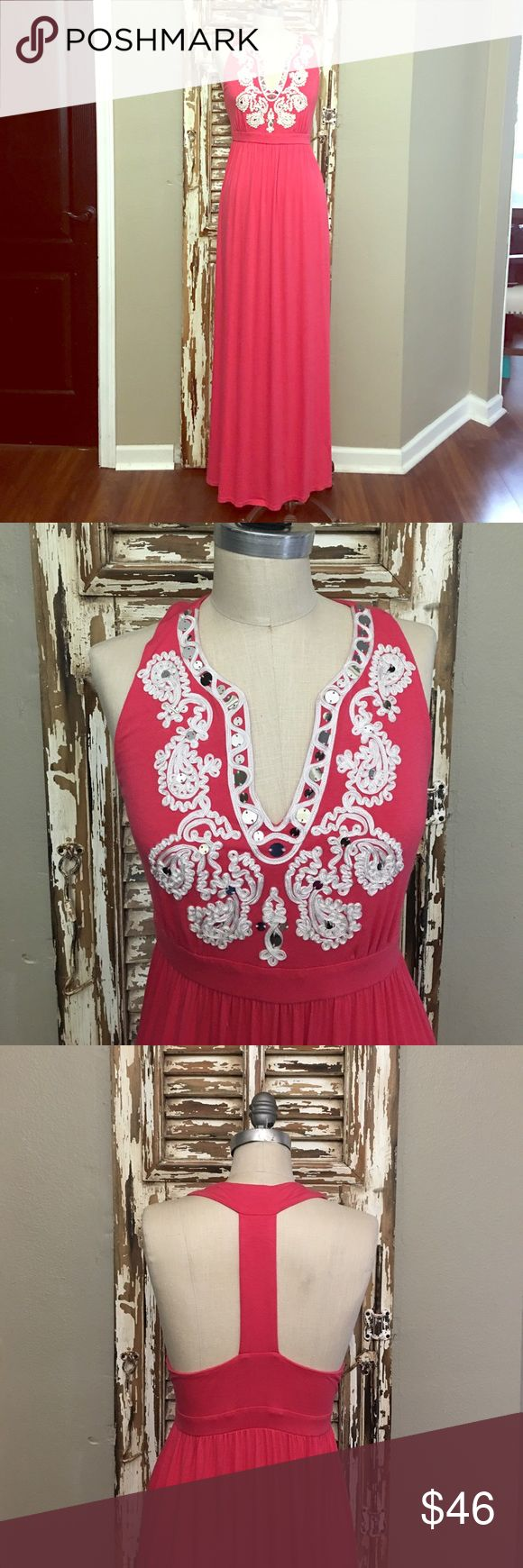 INC Maxi Dress Gorgeous coral/pink maxi dress with nylon embroidery with silver mirrored sequins. Dress is 95% Rayon & 5% Spandex. Full length from back neckline to hem of dress is 58 inches long. Gently used and in excellent condition! INC International Concepts Dresses Maxi