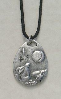 Moon Gazing Hare Pewter Pendant