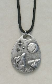 Moon Gazing Hare Pewter Pendant