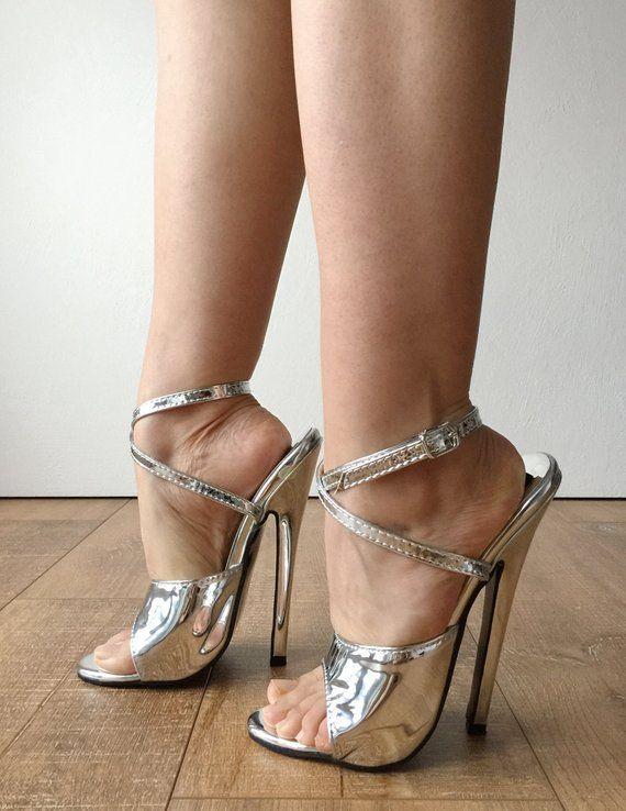 Rtbu Salma 18cm Stiletto Absatz Wrap Strap Sandalen Slipper Etsy Slipper Silber Hochhackige Schuhe Hot Heels