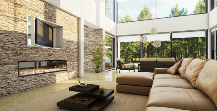 Steinwand im Wohnzimmer mit luxuriöser Ausführung