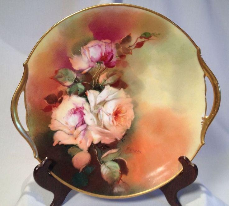 Antique Hand Painted W. A. PICKARD T\u0026V LIMOGES FRANCE Rose Plate Signed SEIDEL & 92 best Stunning Antique Hand Painted Plates images on Pinterest ...