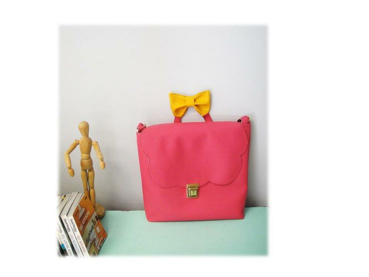 Pink Mary Size: H 36 x W 40cm (pink faux leather/yellow faux leather bow)