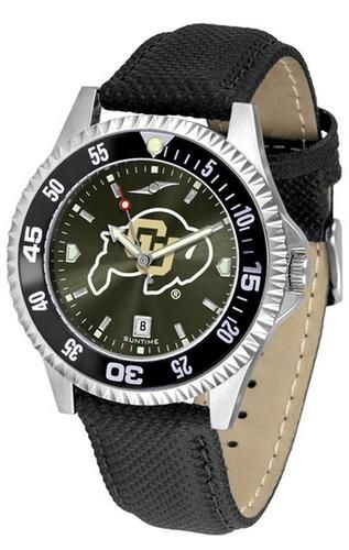 University of Colorado Buffaloes Leather Watch Suntime AnoChrome Logo Timepiece