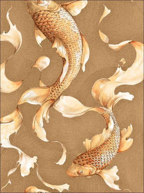 Gold and Brown Koi Wallpaper