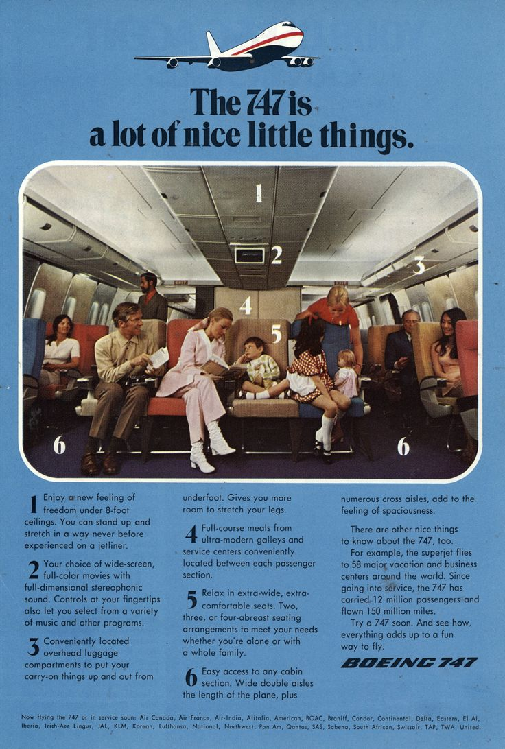 Vintage Airline Ads Commercial Aircraft Boeing 747 Travel Stuff Jet Airplanes Aviation Advertising