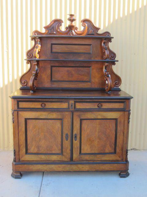 German Antique Biedermeier Server Sideboard Hutch