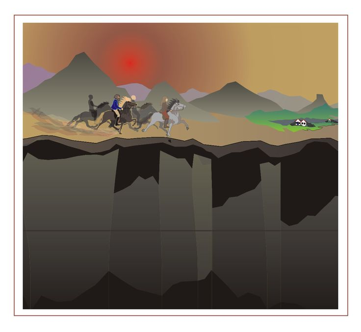 telgangers langs de rand van het klif