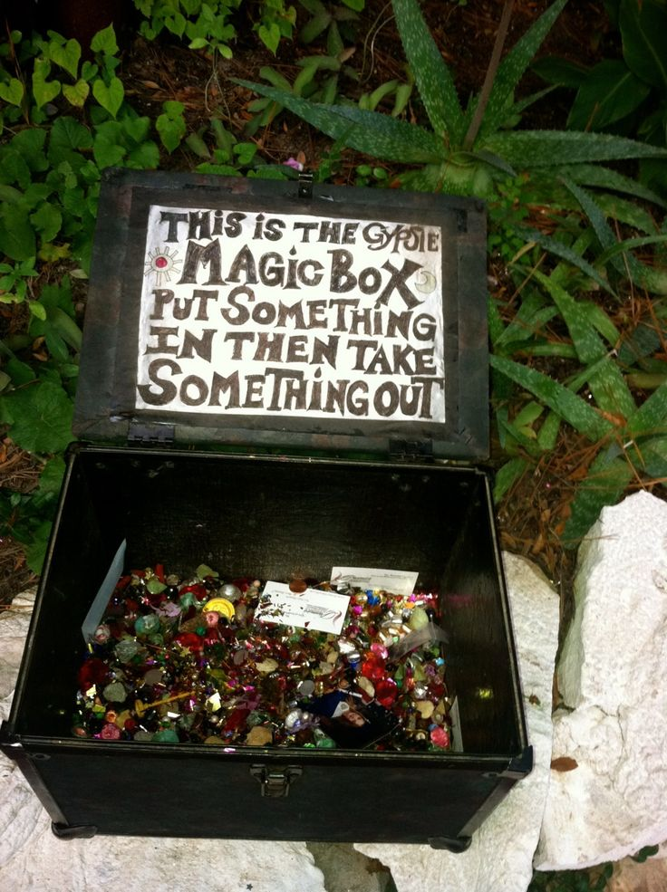 Great idea! I love the idea of a magic treasure box...we had one in a treehouse filled with those little trinkets and treasures you find when you are a child...glass pebbles, old keys, special rocks, lucky pennies, pretty leaves...