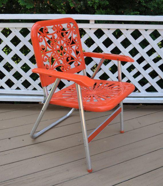 Sale Vintage Aluminum Folding Lawn Chair Orange Mid