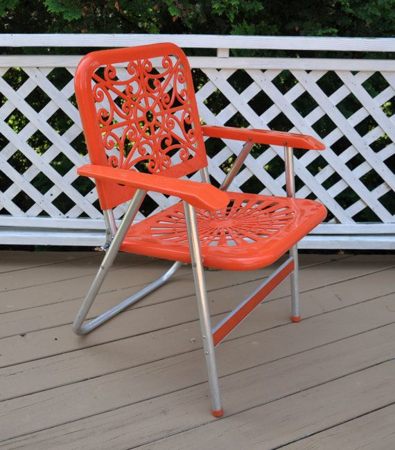 Reserved Vintage Aluminum Folding Lawn Chair Orange Mid Century 1960 s B