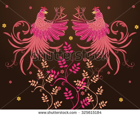 Vector batik design, rooster jump fly, flap their wings, visible fur fly, claw foot forward ready to fight, flowers or plants at the bottom - stock vector