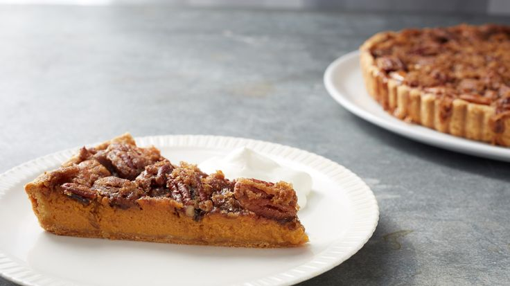Part pumpkin pie, part pecan pie, this recipe from chef Thomas Joseph combines the best of both and is the perfect holiday dessert. Martha made this recipe on Martha Bakes episode 403.