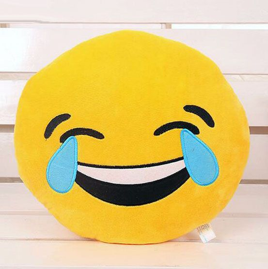 nice Face with Tears of Joy (crying with laughter) Emoji Pillow