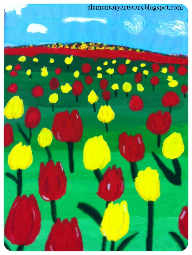 Kid's Art Project: tulip fields (teach perspective)