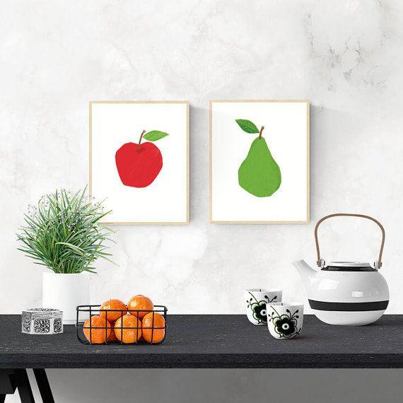 Pear Digital Download Print, Kitchen Art, 8x10 inch Fruit Print