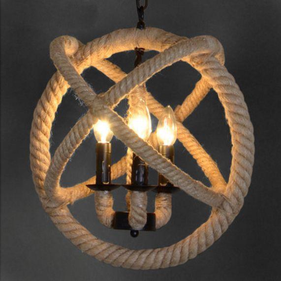 Американский Ретро Конопли Веревки Подвесные Светильники Светильник Европейской Стране Промышленные Droplight Круглый Ретро Главная Крытый Освещение Спальни