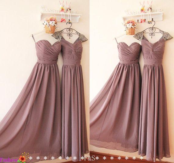 Long Grey Bridesmaid Dress,Chiffon Bridesmaid Dress,A-line Elegant Chiffon Bridesmaid Dress,Bridesmaid Dress,Custom Prom Evening Dresses